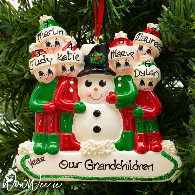 Personalised Christmas Tree Decoration - Making a Snowman Family of 6 - Order Now, Dispatched from October 15th