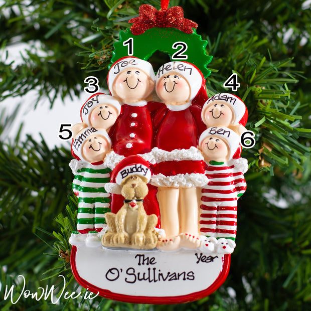 Personalised Christmas Tree Decoration - Christmas Family with Dog 6 - WowWee.ie Personalised Gifts