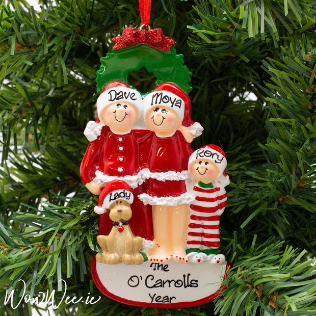 Personalised Christmas Ornament - Christmas Family with Dog 3 - WowWee.ie Personalised Gifts