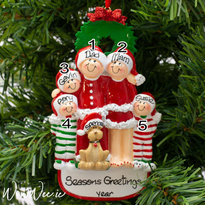 Personalised Christmas Decorations - Christmas Family with Dog 5