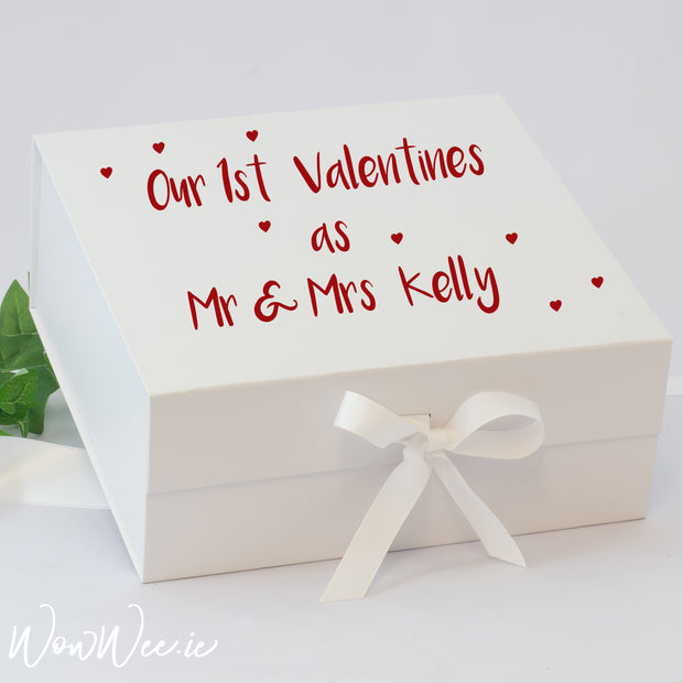 Personalised Valentine's Day Keepsake Box - First as Mr and Mrs