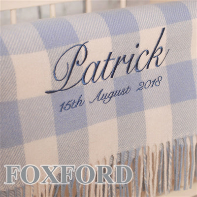 Personalised Foxford Baby Blanket - Gentle Blue & Cream Check - Back in Stock October 15th