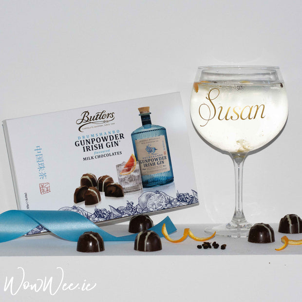 Gin Lover Gift Set - Personalised Gin Glass & Butler's Gunpowder Gin Chocolates - WowWee.ie Personalised Gifts