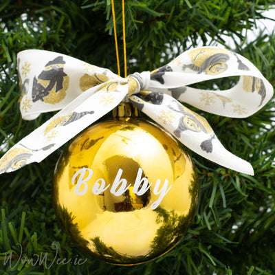 Personalised Luxury Christmas Bauble - Snowflake Snowman - 12cm