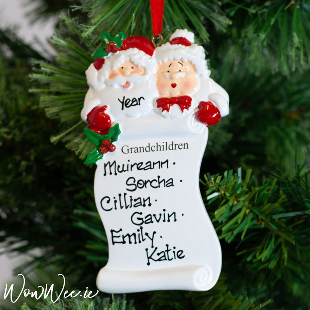 Personalised Christmas Ornaments - Grandchildren Scroll - WowWee.ie Personalised Gifts