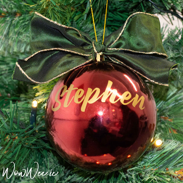 Personalised Luxury Christmas Bauble - Traditional Red, Green & Gold - 10cm - WowWee.ie Personalised Gifts