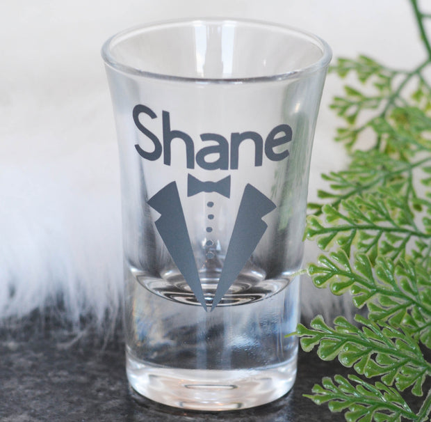 Personalised Wedding Day Shot Glass - for the Boys!