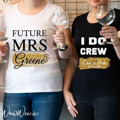 Personalised Hen Night T-Shirts - Rose & Gold Limited Edition Collection - Future Mrs