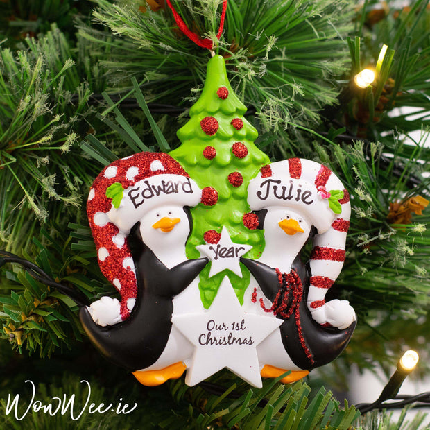 Personalised Christmas Ornament - Penguins 1st Christmas