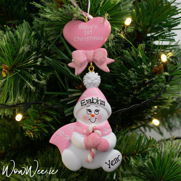 Personalised Baby's 1st Christmas Ornament - Candy Cane Pink