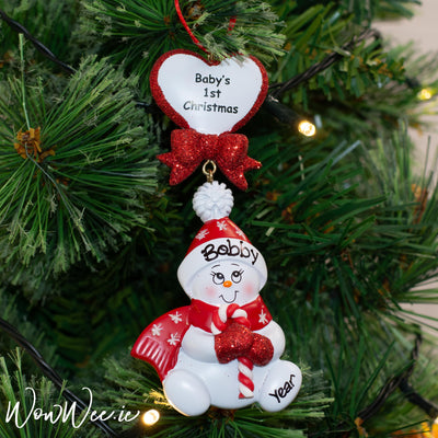 Personalised Red Baby's 1st Christmas Ornament - Candy Cane Red