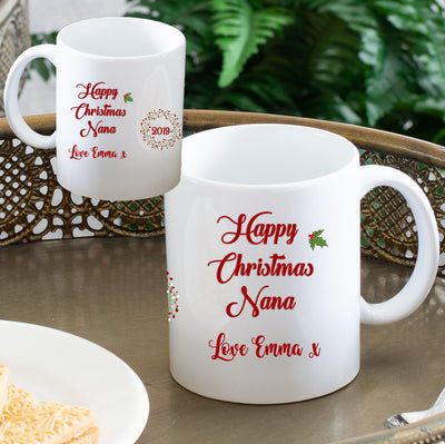 Personalised Christmas Mug - Holly