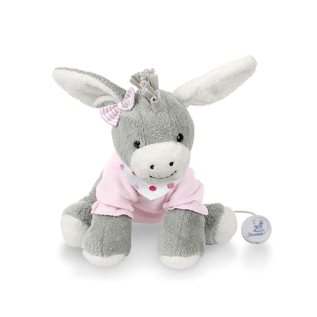 Sterntaler Musical Toy, Plush Donkey Emmi, Interchangeable Music Box, Grey/Pink