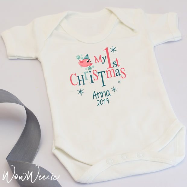 Personalised My First Christmas Baby Vest - Tiny Bird