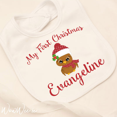 Personalised My First Christmas Bib - Cute Owl