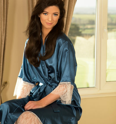 Personalised Lace & Satin Robe - Dreamy Blue