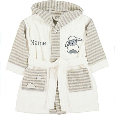 Personalised Baby Bathrobe - Happy Sheep