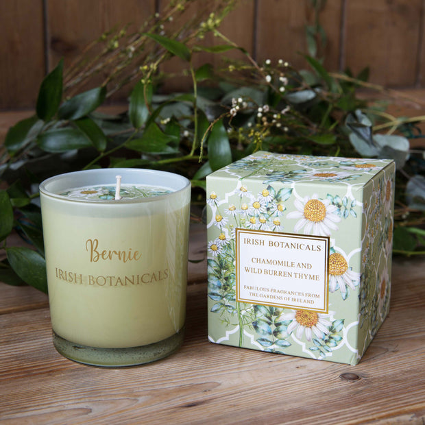Personalised Candle - Irish Botanicals - Chamomile and Wild Burren Thyme - WowWee.ie Personalised Gifts
