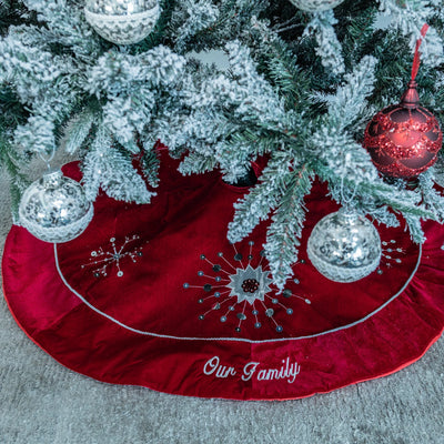 Personalised Velvet Christmas Tree Skirts - Beautifully Beaded & Embroidered