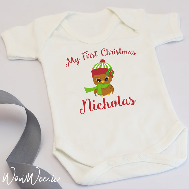 Personalised My First Christmas Baby Vest - Cute Owl