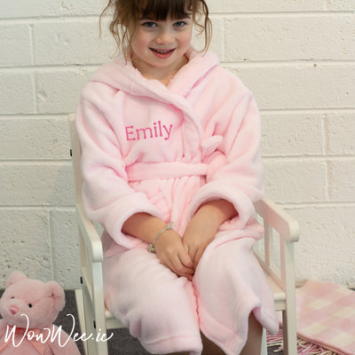 Personalised Hooded Bathrobe for Children - Pink