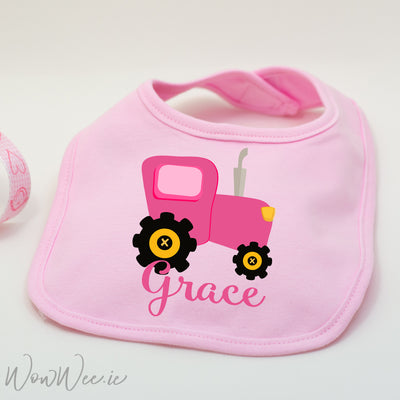Personalised Bib for Girls - Tractor