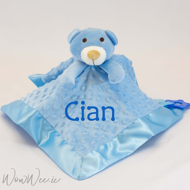 Personalised Baby Comforter - Blue Teddy