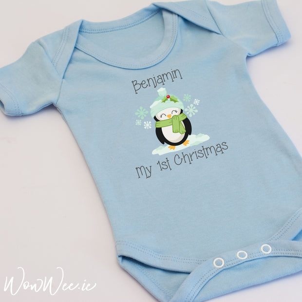 Personalised My First Christmas Baby Vest for Boys - Penguin