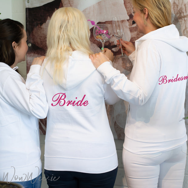 Personalised White Hoodies - Bridal Party Set of 3+
