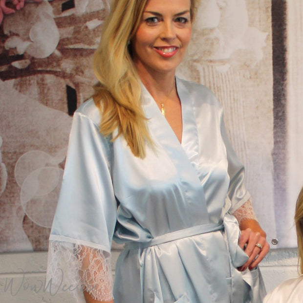 Personalised Satin & Lace Robe - Ice Blue
