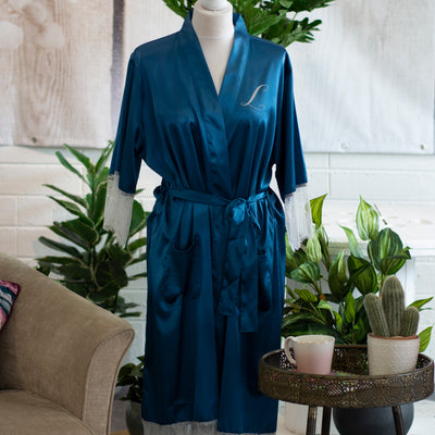 Personalised Lace & Satin Robe - Dreamy Blue - Luxury Gift