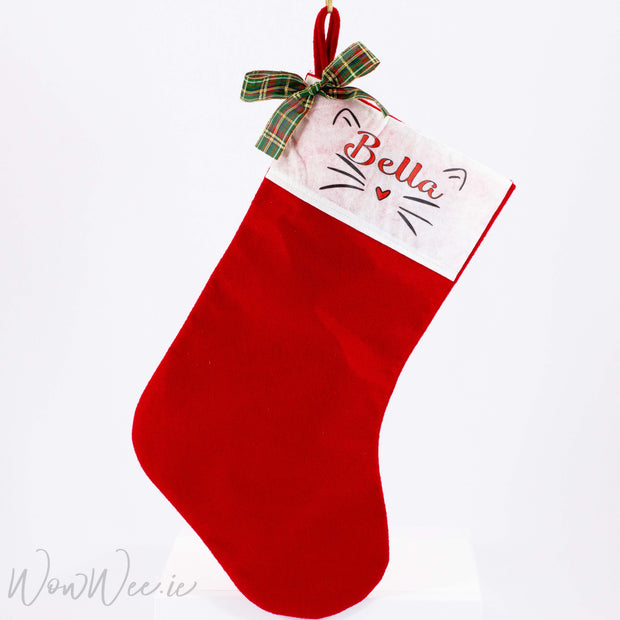 Personalised Christmas Stocking - Cat Face - WowWee.ie Personalised Gifts