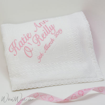 Personalised Lace Trim Christening Shawl for Girls