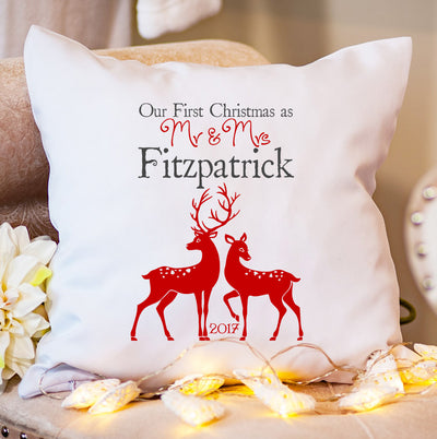 Personalised Christmas Cushion - Our 1st as Mr & Mrs - Reindeer