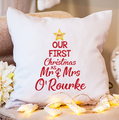 Personalised Christmas Cushion - Our 1st as Mrs & Mrs - Tree