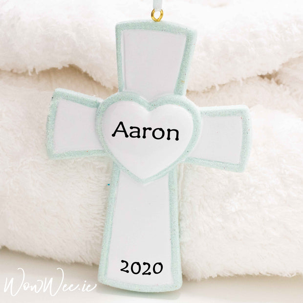 Personalised Occasion Ornament - Christening/ Communion Blue Cross