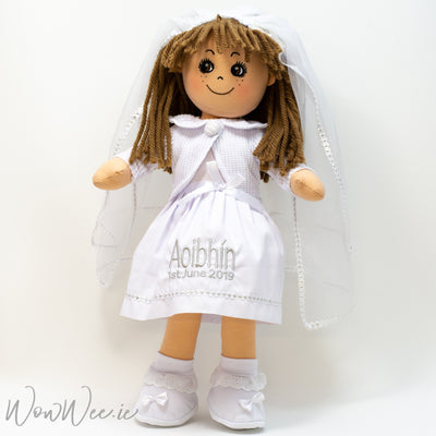 "Personalised First Communion Rag Doll - BROWN HAIR - 19"" Tall"