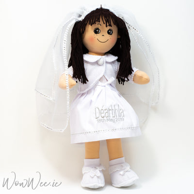 "Personalised First Communion Rag Doll - Dark Brown/Black Hair - 19"" Tall"