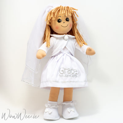 "Personalised First Holy Communion Doll - BLONDE HAIR - 19"" Tall"