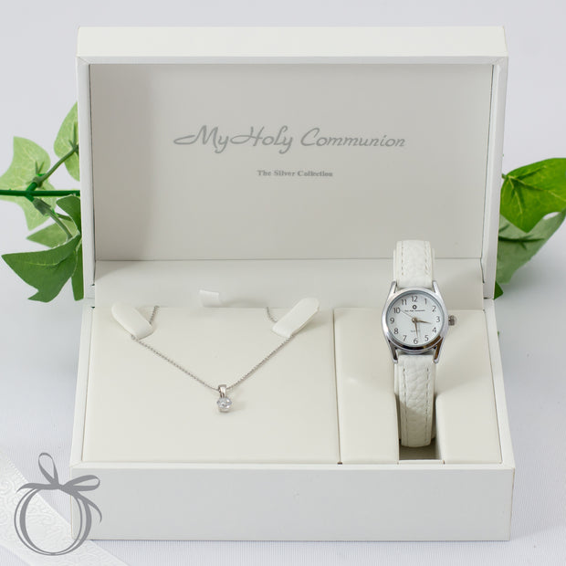 Silver Communion Watch and Necklace Gift Set - Simple