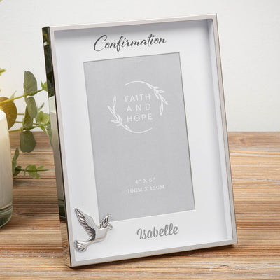 Personalised Confirmation Photo Frame - Dove