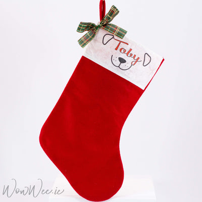 Personalised Christmas Stocking - Dog Face