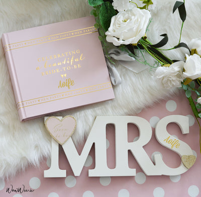 Personalised Bride to Be Gift Set - Hen Party Photo Album & Soon to Be Mrs Standing Plaque