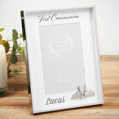 Personalised First Holy Communion Photo Frame - Sacred Silver