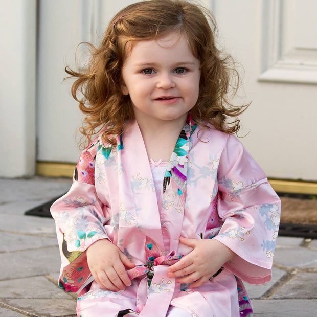 Personalised Satin Robe for Flower Girls - Pearl Pink Floral