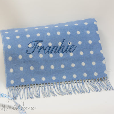 Personalised Foxford Baby Blanket - Gentle Blue & White Spot