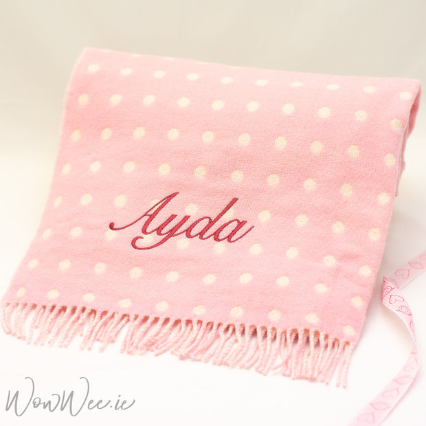 Personalised Foxford Baby Blanket - Gentle Pink & White Spot - Back on August 26th