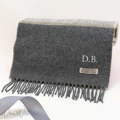 Personalised Foxford Luxury Scarf - Grey Block Classic Stripe