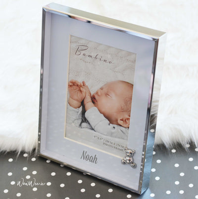 Personalised Baby Photo Frame - Blue Teddy