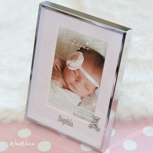 Personalised Baby Photo Frame - Pink Teddy